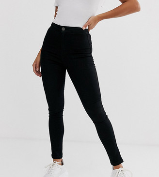 Noisy May Petite high waisted skinny callie jeggings in black