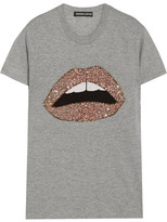 Markus Lupfer Kate Embellished Cotton-blend Jersey T-shirt - Gray