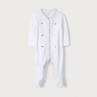 The White Company Organic Cotton Woodland Embroidered Sleepsuit, White, 12-18mths