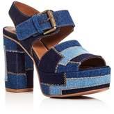 See by Chloe Denim Patchwork Block Heel Platform Sandals