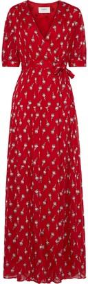 BA&SH Madona Fil Coupe Silk-blend Gauze Maxi Wrap Dress
