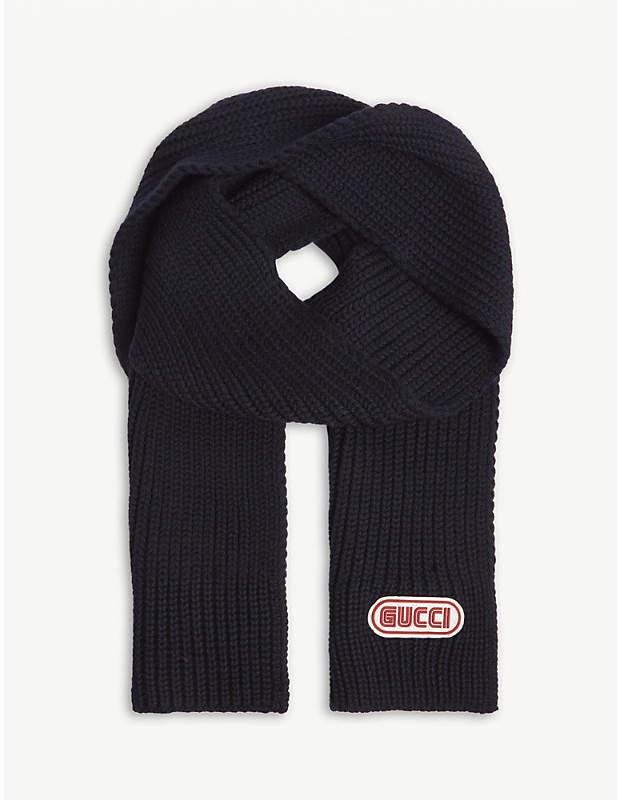 Gucci Sega logo knitted wool scarf