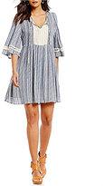 Gibson & Latimer Crochet Striped Bell Sleeve Babydoll Dress