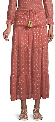 Raga Polka Dot-Print Tiered Skirt