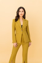 LIENA Notch Collar Single Breasted Blazer in Olive