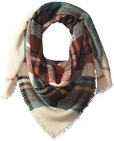 Pure Style Girlfriends Women's Plaid Square Scarf with Fringe Edge Detail Winter Scar