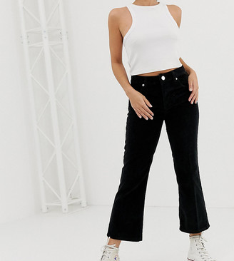Asos DESIGN Petite Egerton rigid cropped kick flare jeans in in clean black cord