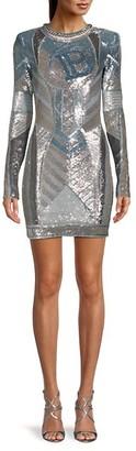 Balmain Long-Sleeve Sequin Mini Dress