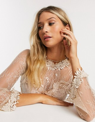 Forever U lace mini dress in cream