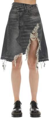 R 13 Distressed Crossover Cotton Denim Skirt