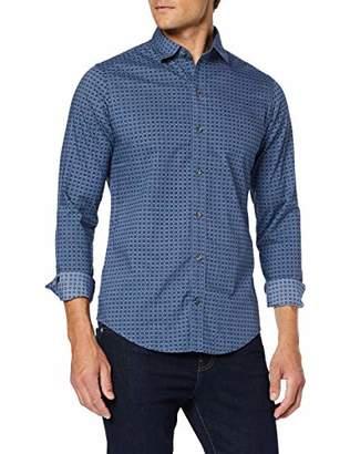 Izod Men's Floral Print Spread Collar Shirt Casual (Blue Indigo 419), (Size: X-Large)