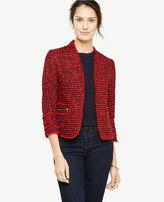 Ann Taylor Fringe Tweed Zip Pocket Jacket