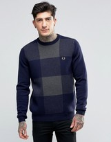 Fred Perry Sweaters With Check In Navy