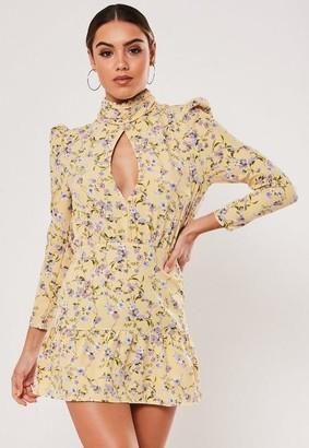 Missguided Petite Yellow Floral Print Frill Hem Mini Dress