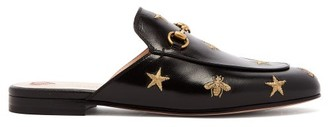 Gucci Princetown Backless Embroidered Leather Loafers - Womens - Black Gold