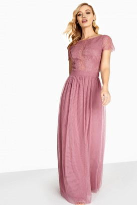 Little Mistress Heidi Lace Overlay Maxi Dress