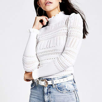 River Island Cream puff sleeve pointelle knitted top