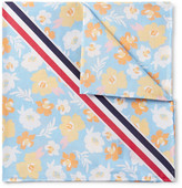 Thom Browne Striped Floral-Print Cotton Pocket Square