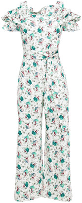 Rebecca Taylor Carnation Cold-shoulder Floral-print Cotton And Linen-blend Jumpsuit