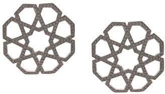 Ralph Masri 18kt White Gold Diamond Geometric Earrings