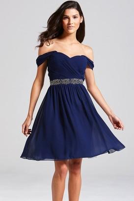 Little Mistress Navy Off the Shoulder Embellished Dress