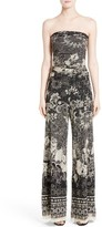 Fuzzi Women's Strapless Batik Print Jumpsuit