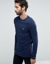 Lacoste Long Sleeve Top With Logo In Regular Fit Navy