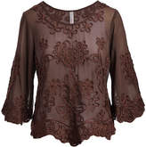 Pretty Angel Women's Tunics Coffee - Coffee Sheer Embroidered Three-Quarter Sleeve Top - Women