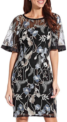Adrianna Papell Embroidered Flare Sleeve Dress