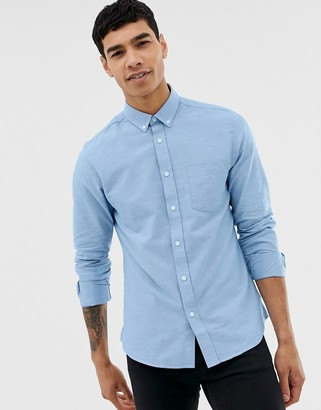 ONLY & SONS slim fit button down oxford shirt in light blue