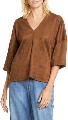 Tibi Sculpted Sleeve Faux Suede Top