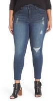 Melissa McCarthy Plus Size Women's Distressed Pencil Leg Jeans