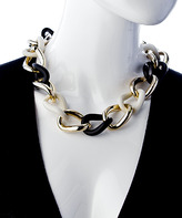 Carolee Gold Black and White Enamel Large Link Necklace