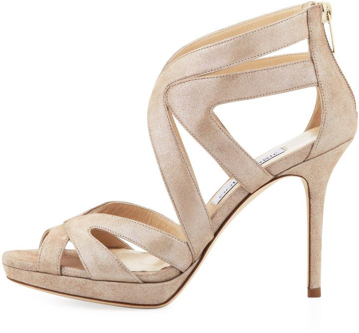 Jimmy Choo Karla Crisscross Leather Sandal, Sand