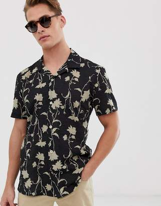 Hymn floral print seersucker short sleeve shirt-Black