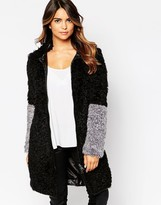 Urban Code Urbancode Curly Faux Fur Coat with Contrast Cuffs