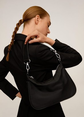 MANGO Double handle nylon bag black - One size - Women