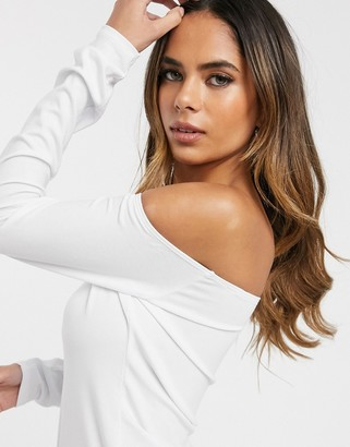 ASOS DESIGN Hourglass off shoulder long sleeve top in white