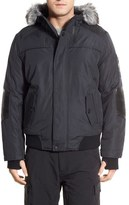 Point Zero Hooded Bomber Jacket with Faux Fur Trim