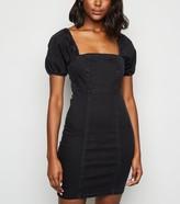 New Look Denim Square Neck Puff Sleeve Dress