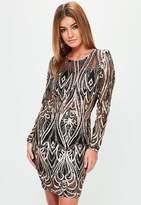 Missguided Black Sequin Long Sleeve Bodycon Dress, Black
