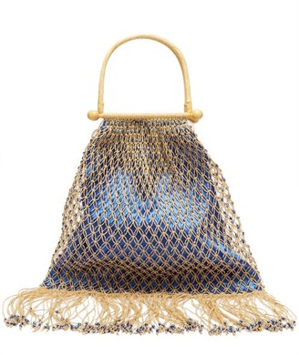 My Beachy Side - Aphrodite Rattan Handle Beaded Crochet Bag - Womens - Blue Multi
