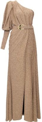 PatBO Lurex one-shoulder belted maxi dress