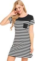 Bluetime Women's Nightgown Short Sleeve Pajamas Striped Sleepwear Nightshirt (M, )