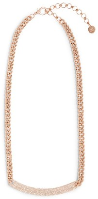 Shay Rose Gold and Diamond Nameplate Curved Bar Necklace