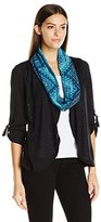 Notations Women's 3/4 Tab Sleeve Cozy Cardigan with Solid Knit Inset and Printed Scarf