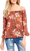 C & V Chelsea & Violet Floral Print Off-The-Shoulder Blouse