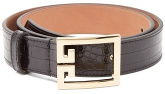 Givenchy Logo-buckle Crocodile-effect Leather Belt - Womens - Black Gold