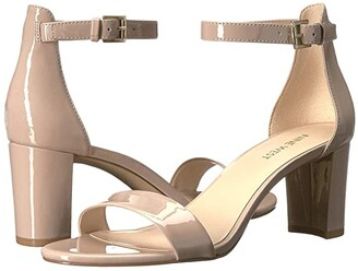 Nine West Pruce Block Heel Sandal (Natural Sleek Patent PU) High Heels
