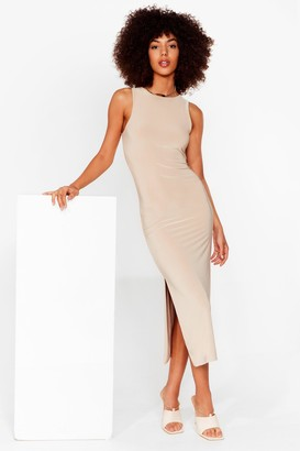 Nasty Gal Womens You've Got a Slinky Side Slit Midi Dress - Beige - 4, Beige